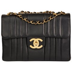 1995 Chanel Black Vertical Quilted Caviar Leather Vintage Jumbo XL Flap Bag