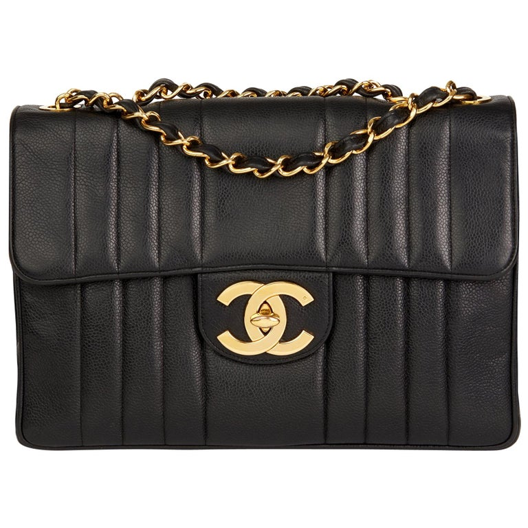 2480efff34d5 1995 Chanel Black Vertical Quilted Caviar Leather Vintage Jumbo XL Flap Bag  For Sale