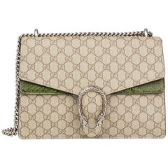 2016 Gucci GG Supreme Coated Canvas & Green Python Leather Medium Dionysus