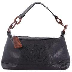Chanel Vintage CC Resin Chain Shoulder Bag Caviar Small