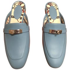 Slipper leather HERMES sky color light blue or sky, 2018 collection