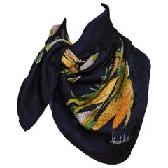 Large Black Silk Nicole Miller Scarf with Corn Pattern Motif
