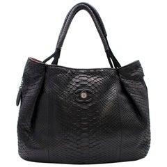 Chanel Black Python Large Classic Shopper Tote