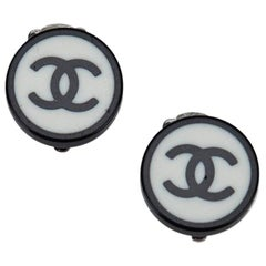 Chanel CC Round Clip On Earrings