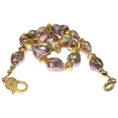 Natural Golden Baroque Pearls with Gold Accents Necklace