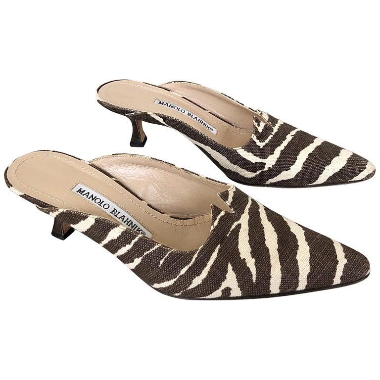 be3026ecbc12 1990s Manolo Blahnik Rare Size 35.5   5.5 Brown + Ivory Zebra Kitten Heel  Mules For