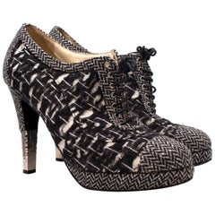 Chanel Tweed Lace Up Shoe Boots US 10