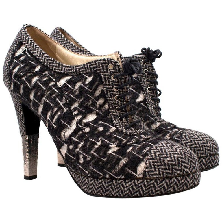 24bb00852cb4 Chanel Tweed Lace Up Shoe Boots US 10 For Sale at 1stdibs