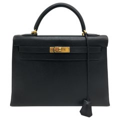 Hermes Black Kelly 32cm in Evergrain