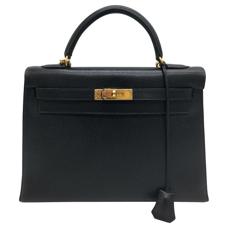 Hermes Black Kelly 32cm in Evergrain For Sale