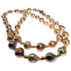 34 Inch Necklace of Natural Golden Freshwater Baroque Pearls
