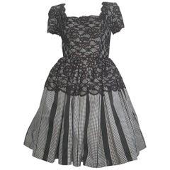 Oscar de la Renta Black & White Lace Evening Cocktail Dress Size 6.