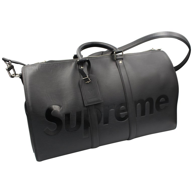 Louis Vuitton by Supreme Black Epi Leather Keepall For Sale