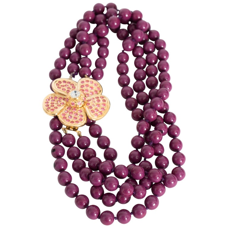 A 1980s Yves Saint laurent Multi-Strand Necklace with Floral Rhinestone Detail For Sale