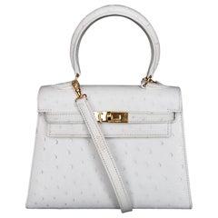 Hermès Vintage Mini Kelly Sellier White Ostrich Gold Hdw Handle & Strap 20 cm