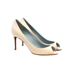 Christian Louboutin Sexy 85mm Peep-Toe White Satin Pumps US 5.5
