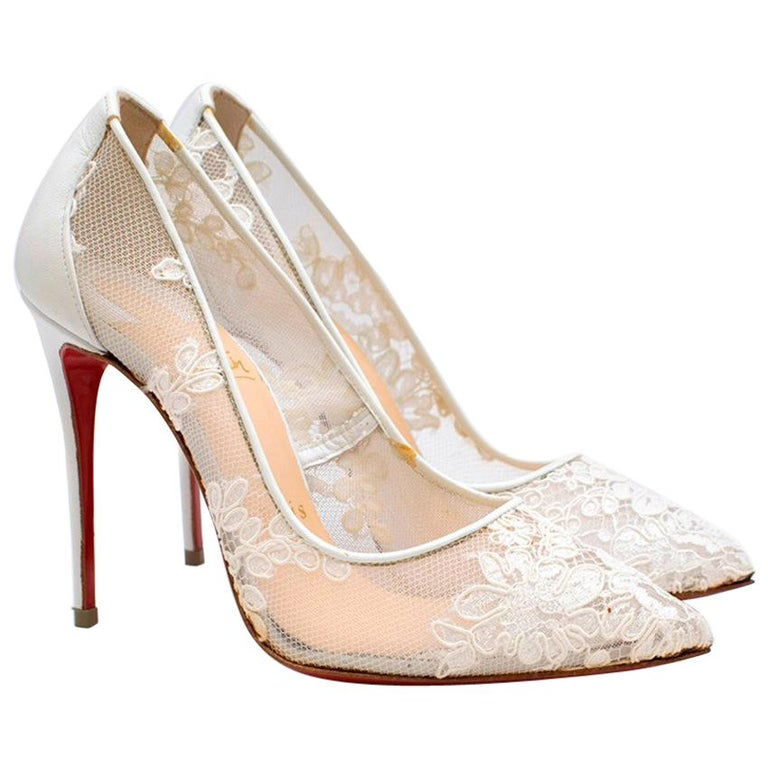Christian Louboutin Follies Lace 100mm White Pumps US 4 For Sale at ... 8cfba31b3