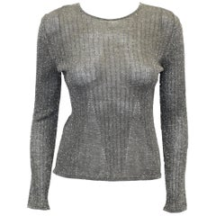 Chanel Silver Tone Metallic Ribbed  Wool Blend Sweater From Fall 99 Collection