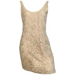 Tom & Linda Platt for Saks Fifth Avenue Gold Lace Cocktail Dress Size Medium.