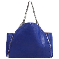 Stella McCartney '18 Blue/Burgundy Vegan Leather Reversible Falabella Tote Bag