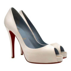 Christian Louboutin Very Prive 120mm off-white satin pumps US 8.5