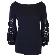 Oscar de la Renta Black Boat Collar Top W/ Embroidered Decorated Long Sleeves