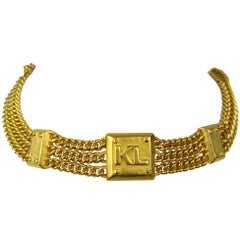 1990's Karl Lagerfeld Gold Gilt Choker Chain Necklace, New never worn 1990s