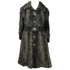 Rare 1960s Mod Vintage Persian Lamb Silver / Black Double Duty Jacket and Coat