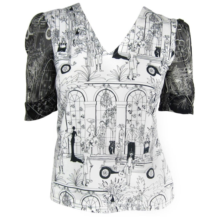 17b7ea96 John Galliano Whimsical Print Tee Shirt 1990s For Sale at 1stdibs