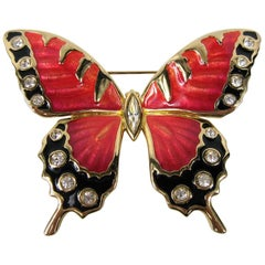Swarovski Crystal Enamel Red and Black Butterfly 1990s New, Never worn