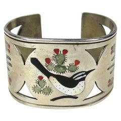 Sterling Silver ZUNI Cuff Bird Cactus Coral Mother of pearl Bracelet