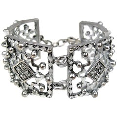 1990's Karl Lagerfeld Silver Studded Link Bracelet New, Never worn