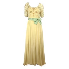 1960s Malcolm Starr Flowing Beaded Gown Vintage Dress