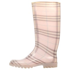 Burberry Pink Plaid Rubber Rain Boots Sz 37