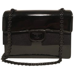 Chanel Black on Black Patent Leather Classic Flap Shoulder Bag