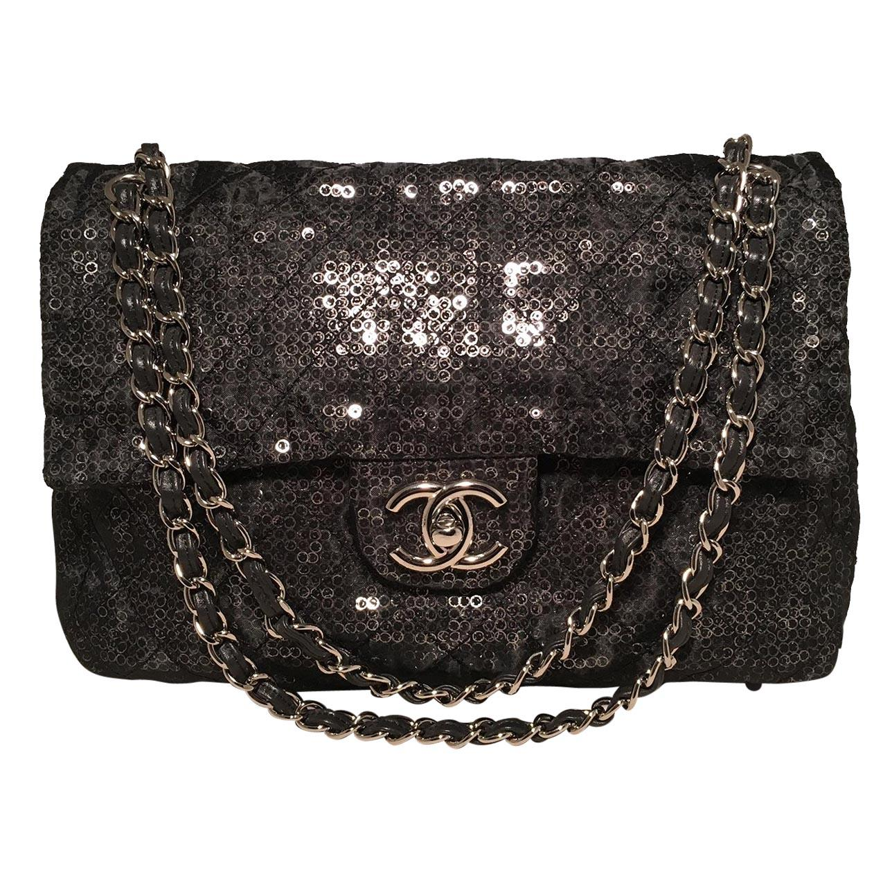 Chanel Hidden Sequins Mesh Jumbo Classic Flap Shoulder Bag