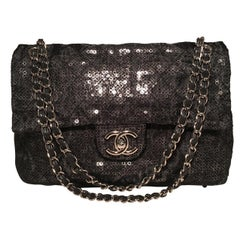 Chanel Hidden Sequins Mesh Jumbo Classic Flap Shoulder Bag