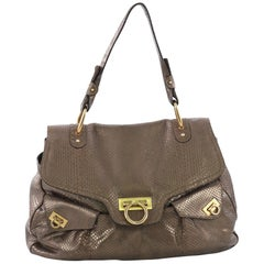 Salvatore Ferragamo Gancini Top Handle Bag Python Large