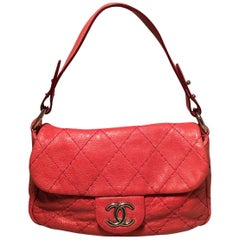 Chanel Red Quilted Glazed Leather Classic Flap Shoulder Bag