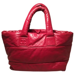Chanel Red and Navy Puffy Leather Cocoon Tote Bag
