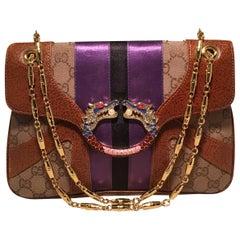 Gucci Tan Monogram Tom Ford Jeweled Dragon Shoulder Bag