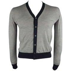 PRADA Size XS Grey & Navy Solid Wool / Silk Buttoned Cardigan