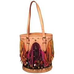 Louis Vuitton Limited Edition Black Monogram Multicolor Fringe Bucket Bag with