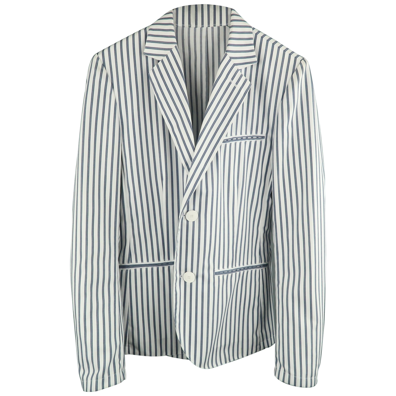 AGNES B. HOMME 36 White & Blue Stripe Polyester / Cotton Notch Lapel Sport Coat