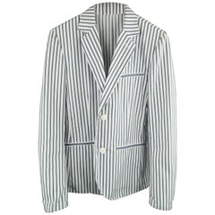 AGNES B. HOMME 36 White & Blue Stripe Polyester / Cotton Notch Lapel Sport Coat
