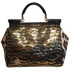 Dolce and Gabbana Zebra Sequin and Leopard Print Fur Miss Sicily Bag
