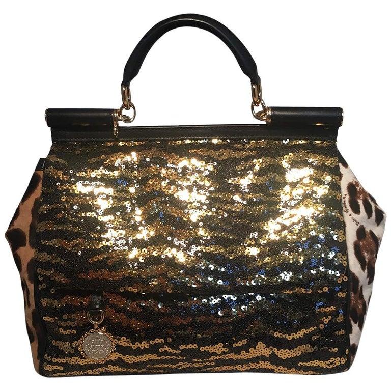 Dolce and Gabbana Zebra Sequin and Leopard Print Fur Miss Sicily Bag For  Sale faf2d771ece88