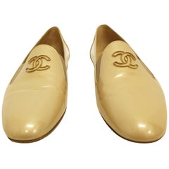 Chanel Pearlized Beige Patent Leather Flat Pumps