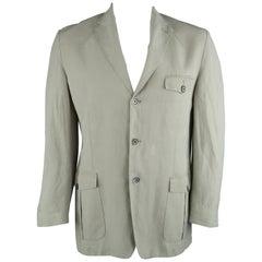 CORNELIANI 44 Regular Khaki Solid Linen Blend Notch Lapel Sport Coat