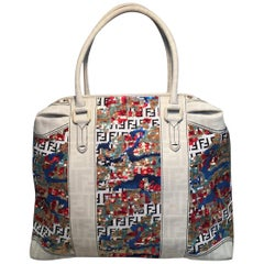 Fendi White Canvas and Multicolor Sequin Tote Bag
